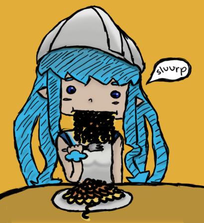 Squid Spaghetti by elf-mermaid