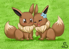 Eevee love x3 by SarOkami