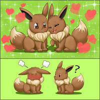 Eevee love x3 (2) by SarOkami