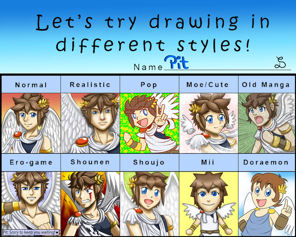 Different Style Meme - Kid Icarus: Pit by SarOkami