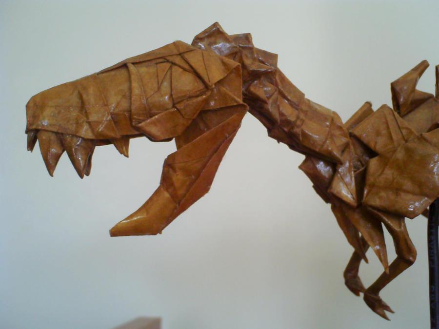 origami trex skeleton detail by kosmu on deviantart