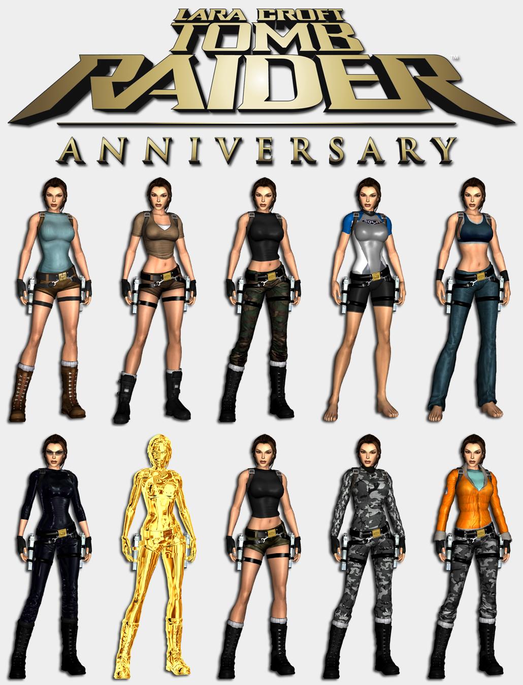 Tomb Raider Anniversary - Lara's outfits by HailSatana