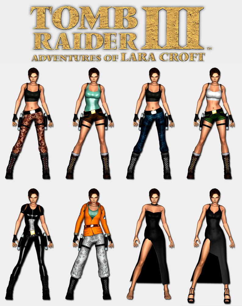 Tomb Raider 3 - Lara's outfits by HailSatana