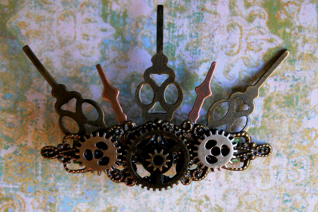 Steampunk Clock Hands and Gears Hair Clip by random-wish