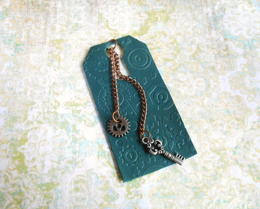 Blue Miniature Steampunk Leather Bookmark by random-wish