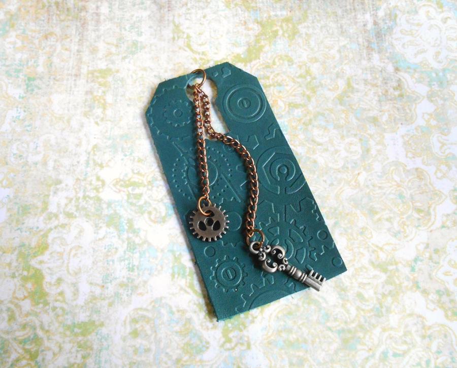 Blue Miniature Steampunk Leather Bookmark
