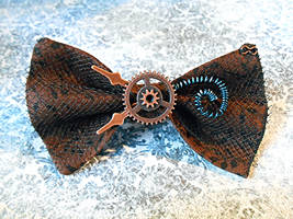 SOLD: Victorian Steampunk Coil Hair Bow/Bow Tie by random-wish