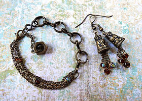 Steampunk Alchemy Jewelry Set by random-wish