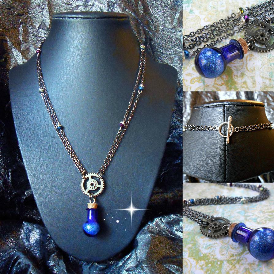 Steampunk Mana Potion Necklace by random-wish
