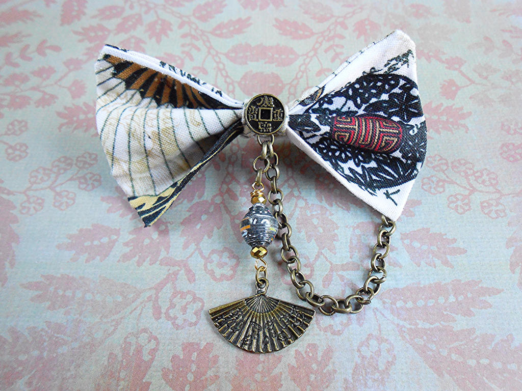 Couture Asian Fan Hair Bow Chinese Hair Bow