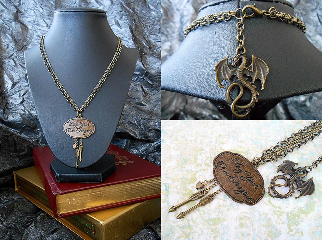 Slay Your Own Dragons Fantasy Necklace by random-wish