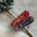 Two toned embroidered linen hair clips