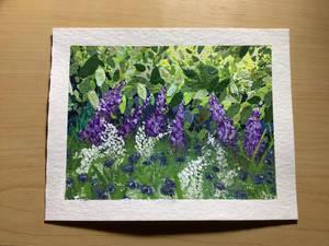 Gouache Lavendar And Wildflowers