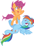 MLP FiM! Rainbow Dash and Scootaloo!! Colored