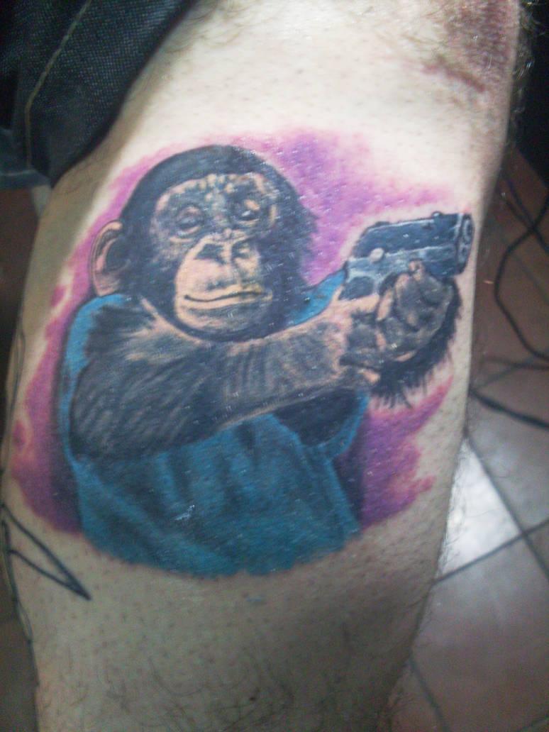 monkey tattoo by TATTOOQAC