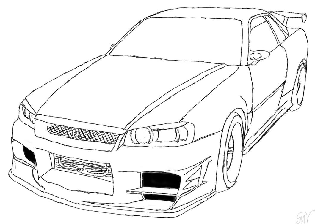Old car outline drawing 10