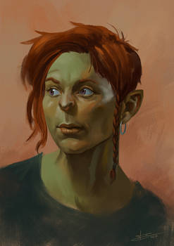 Female orc quick portrait (video in description)