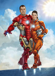 Iron Man and Rescue personalized portrait