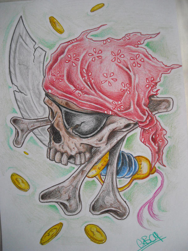 pirate skull tattoo design by AsatorArise
