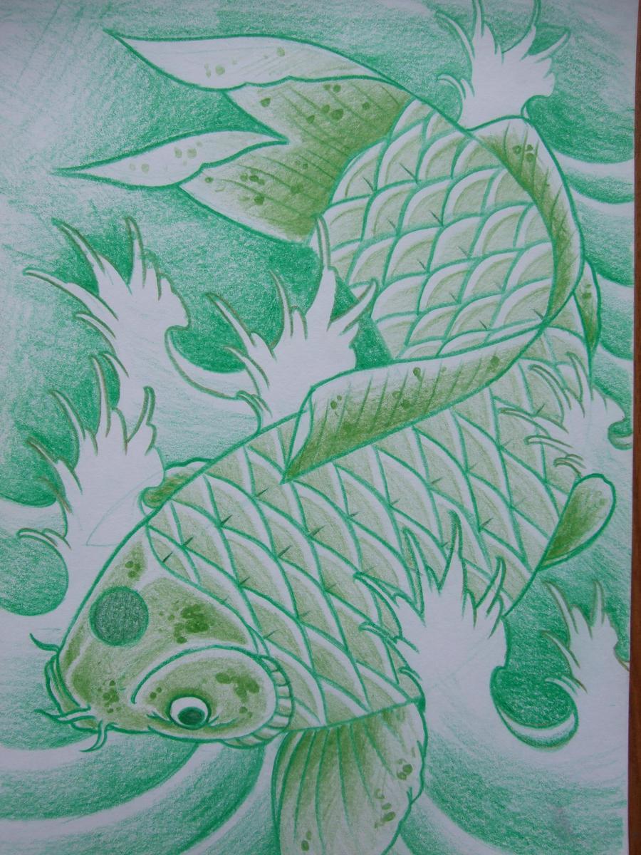 Green koi sketch by asatorarise on deviantart for Green koi fish