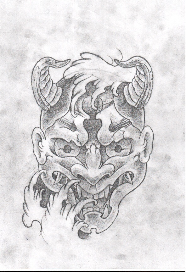 how to draw hannya mask