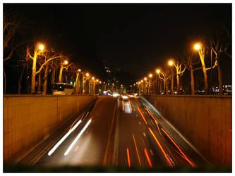 Paris road at night by GoOdz