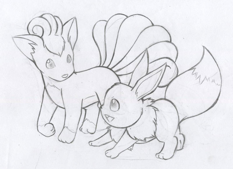 Vulpix and eevee new by micahjo on deviantart for Vulpix coloring pages