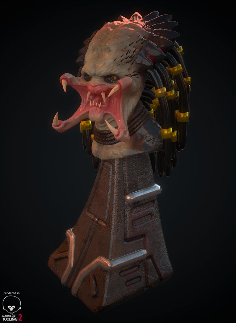 Predator Head Bust by whitekidz