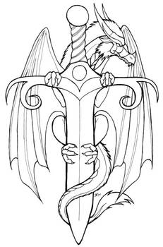 Dragon on a sword