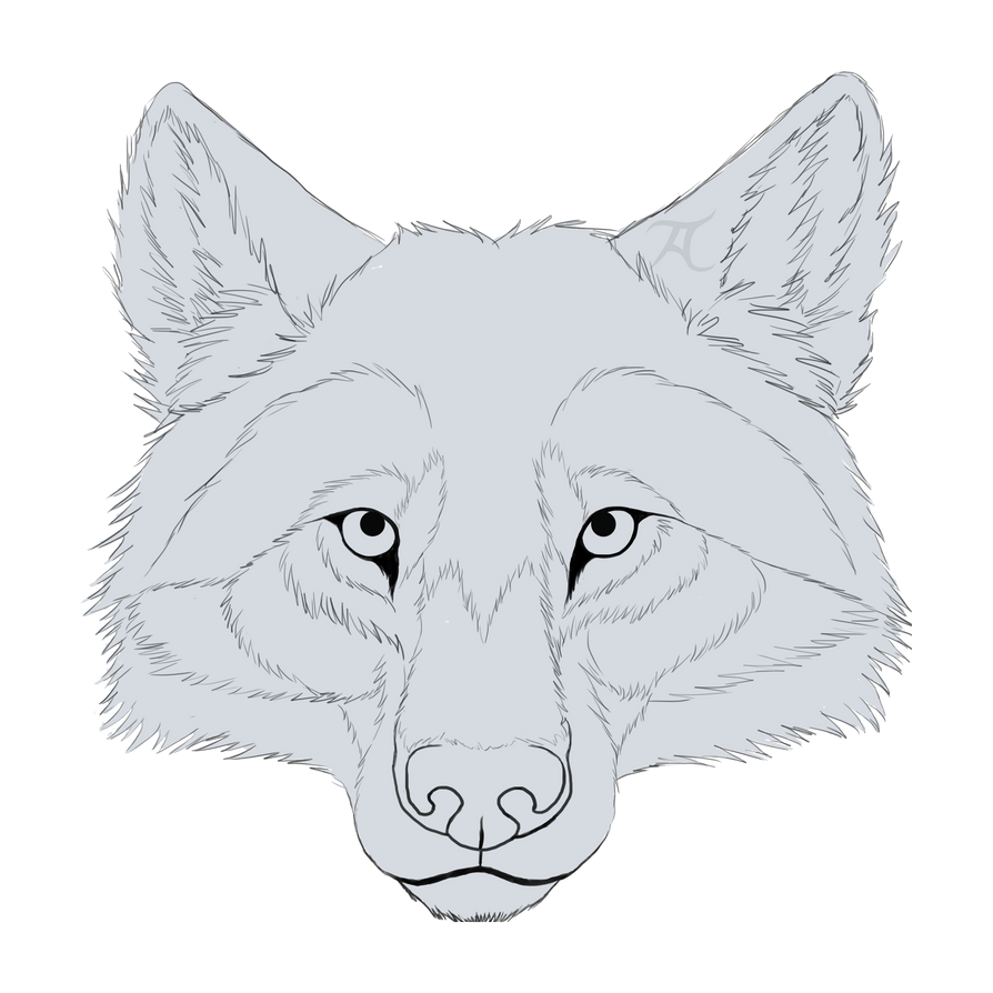 Free wolf line art by Skychaser