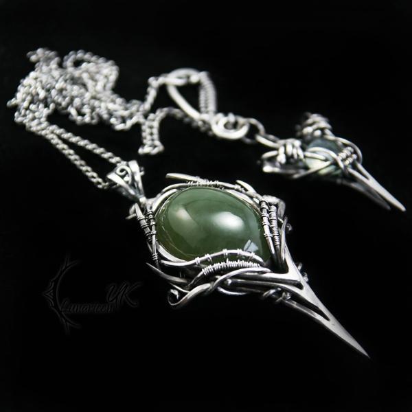 CYIATURH - silver and prehnite by LUNARIEEN
