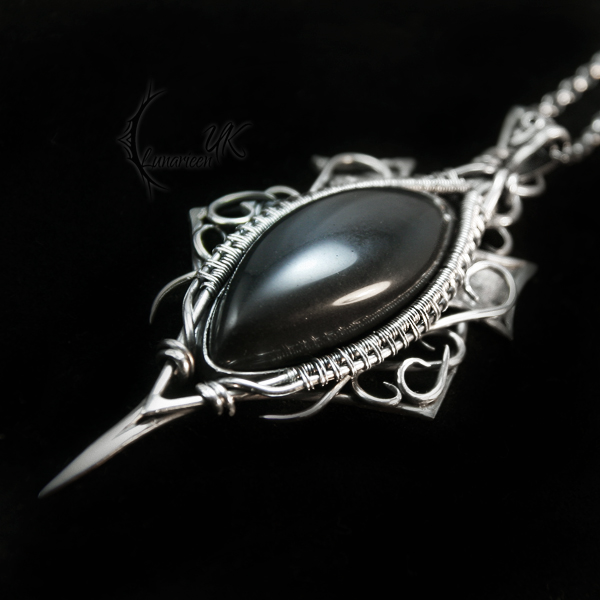 DRAGORNH - silver , obsidian by LUNARIEEN