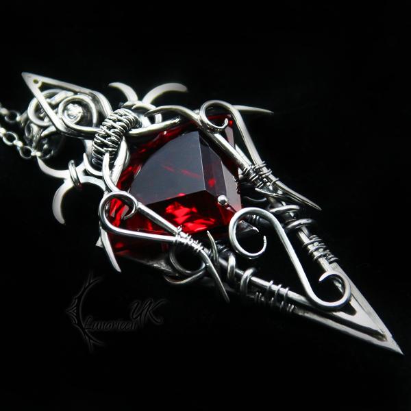 QTULMARX - silver , red quartz and garnet by LUNARIEEN