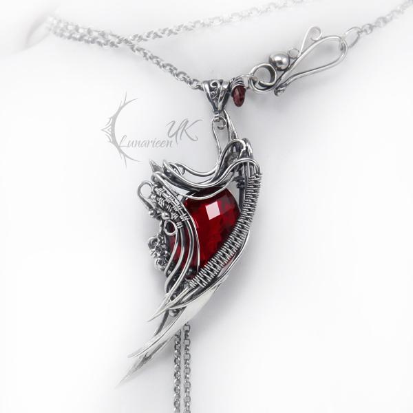 RUNILMARH - silver , red quartz and garnet by LUNARIEEN