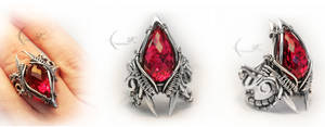 EXANTIQUS - silver and red topaz
