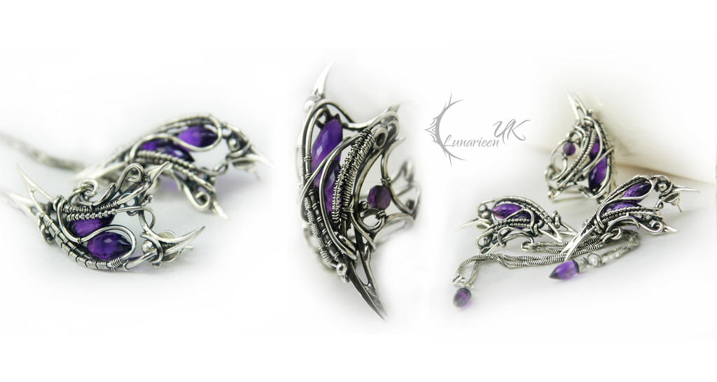 LAVINTURX  -silver and amethyst ( set ) by LUNARIEEN