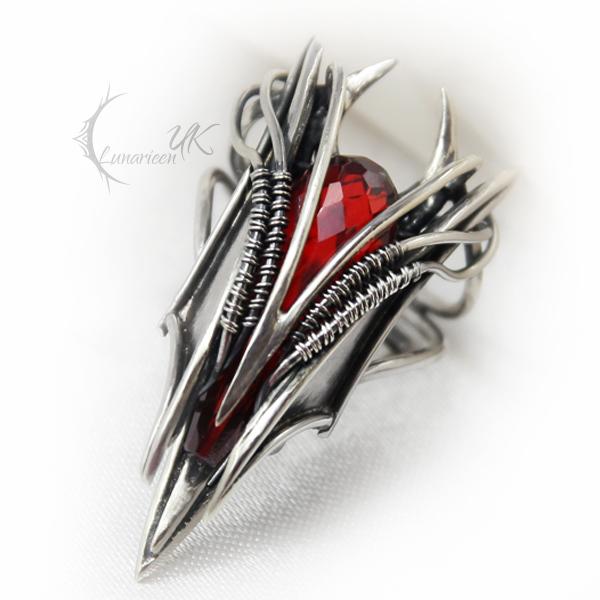 EKKIMARH - silver and red zircon by LUNARIEEN