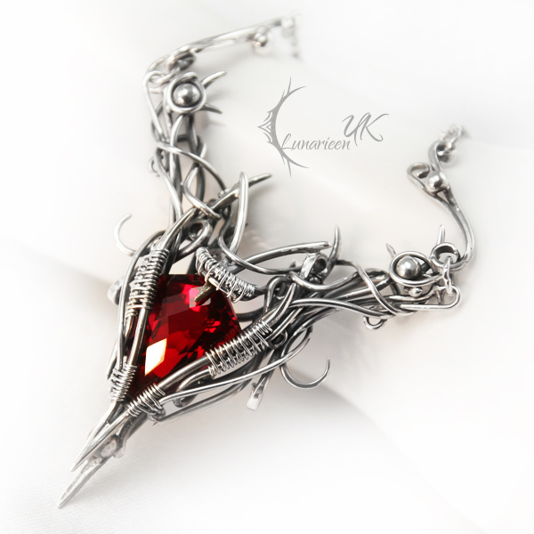 RAGHTRAT  - silver , red quartz , garnet by LUNARIEEN