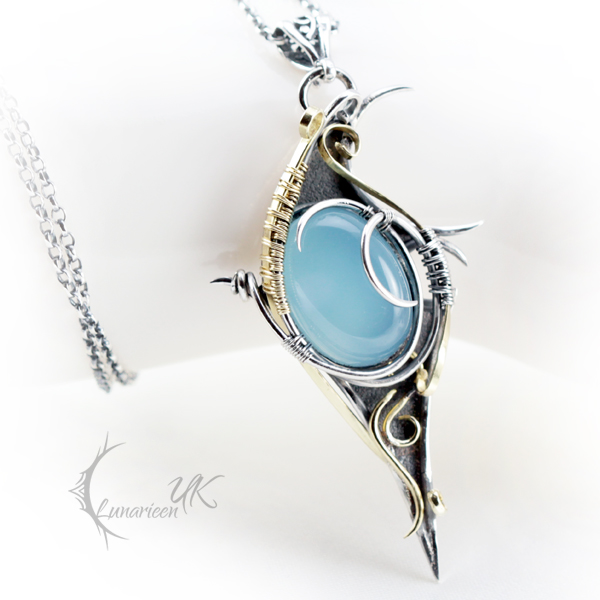 AZATHRIAL - silver, gold and blue chalcedony by LUNARIEEN