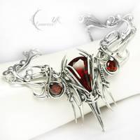 ARNARGNAH - silver , red quartz , garnet. by LUNARIEEN