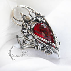 ELGHARDUQ - silver and red topaz (ring ) by LUNARIEEN
