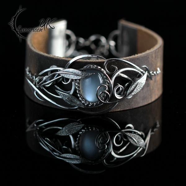ATRDNARL - Silver, Leather and Silky Moonstone by LUNARIEEN