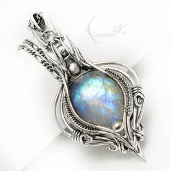 AELTRIEELH Silver and Rainbow Moonstone