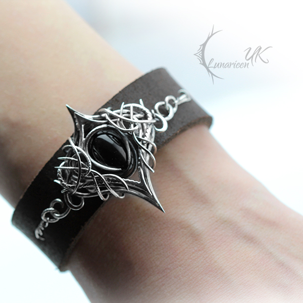 XACTRION, Silver, Leather and Black Onyx. by LUNARIEEN