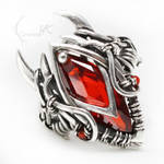 UXAMELIAN -Silver, Red Zirconia and Carnelian