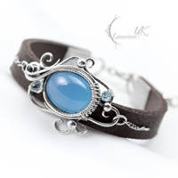 YENZTRAL, Silver and Blue Chalcedony by LUNARIEEN