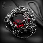 Brooch XENYTRALL - Silver and Red Quartz.