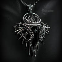 Necklace XARNTIUS AGLARDI - Silver, Black Chalcedo by LUNARIEEN