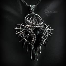 Necklace XARNTIUS AGLARDI - Silver, Black Chalcedo