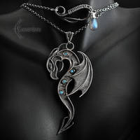Necklace GHALSHARR DRACO - Silver, Labradorite. by LUNARIEEN